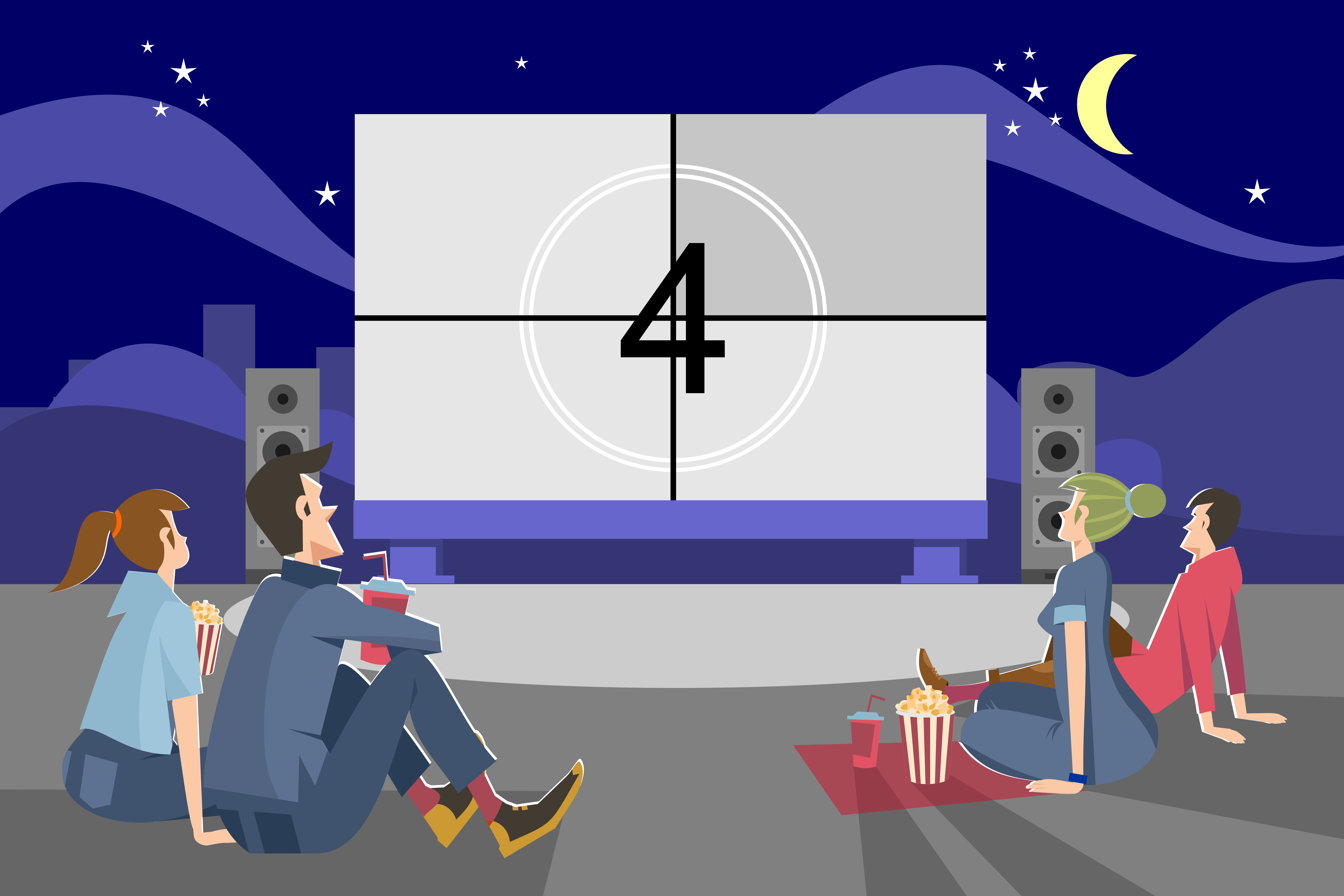 People watching movie outdoors in evening. Couples dating in open air cinema theater and sitting at big screen. Vector illustration for night, weekend, entertainment, romance concept